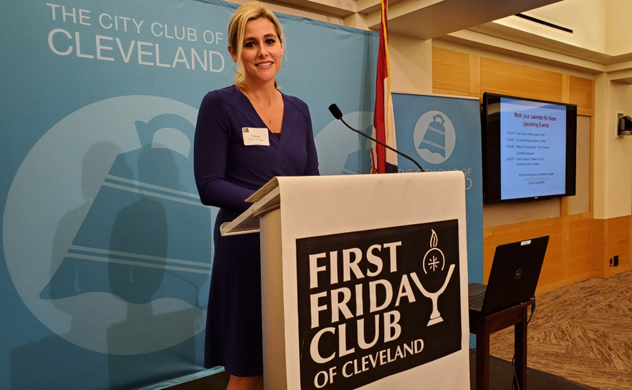 Lannie Davis Frecker shares ministry of Julie Billiart Schools with First Friday Club of Cleveland