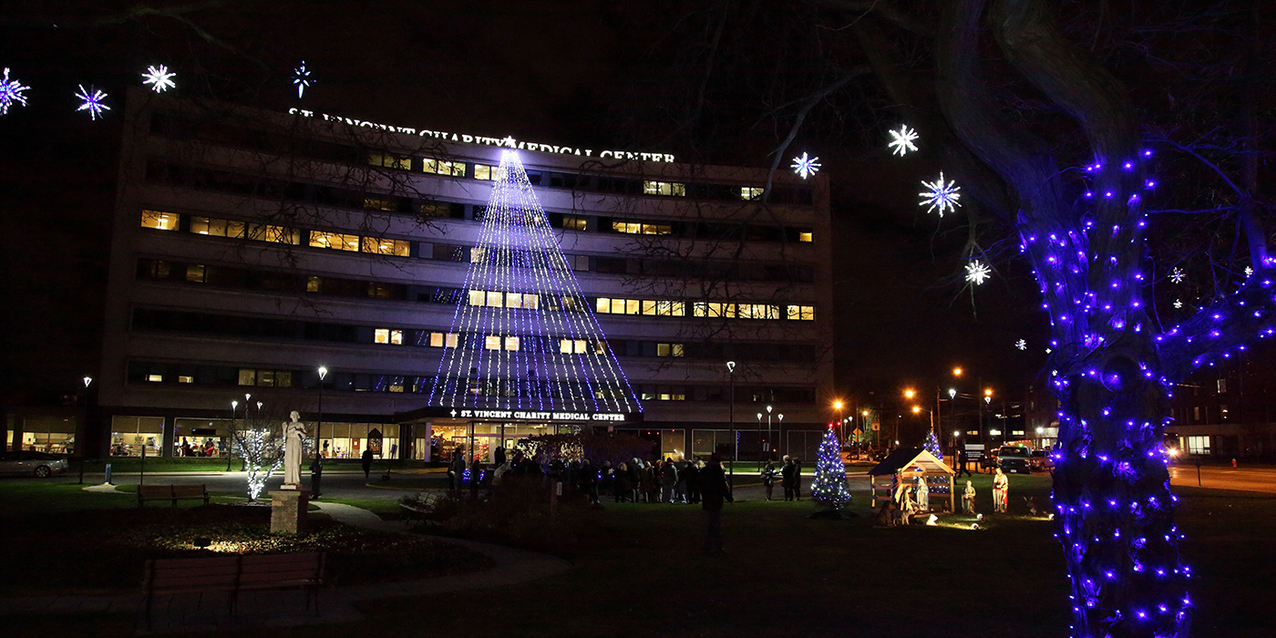 St. Vincent Charity Medical Center lights up for Christmas