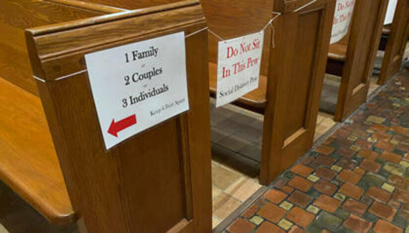 Cathedral pews with social distancing signs