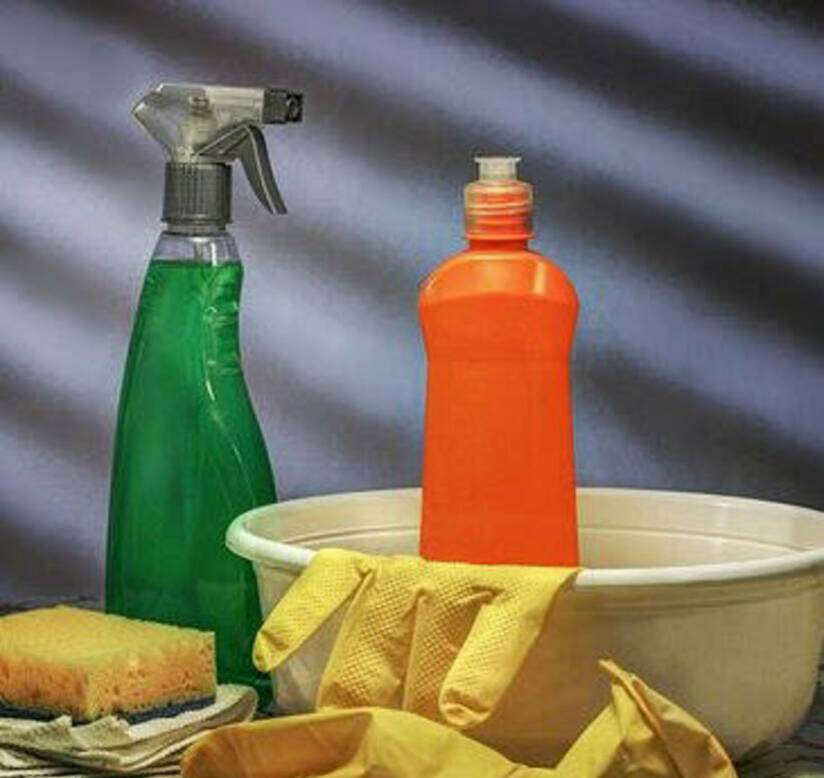 Cleaning supplies with basin