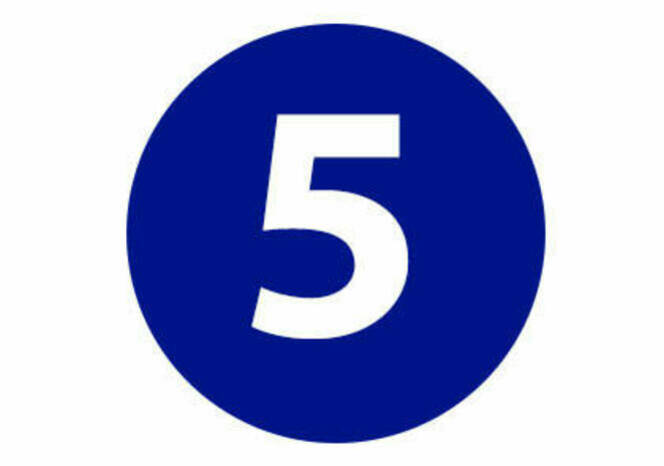 Five in blue circle
