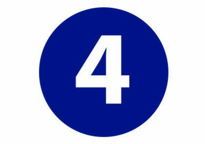 Four in blue circle