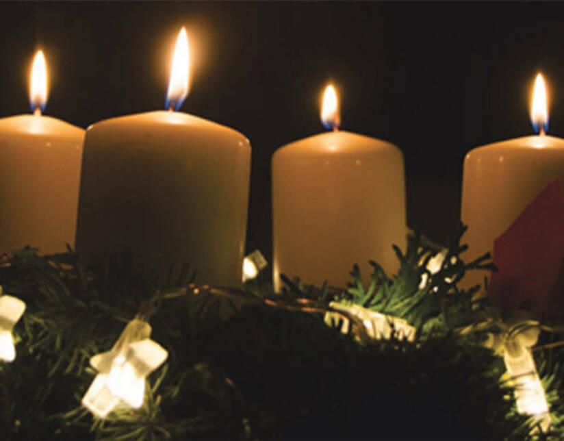 White advent candles